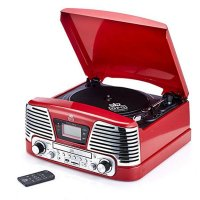 GPO Retro - Memphis Turntable in Red
