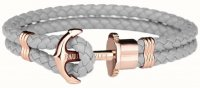 Paul Hewitt - PHREP, Grey Leather Rose Gold Anchor Bracelet, Size Large