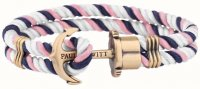 Paul Hewitt - PHREP, Navy/Pink/White Nylon Brass Anchor Bracelet, Size Medium