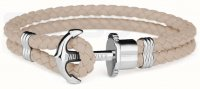 Paul Hewitt - PHREP, Hazelnut Leather Silver Anchor Bracelet, Size Medium