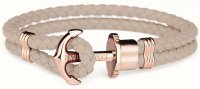Paul Hewitt - PHREP, Hazelnut Leather Rose Gold Anchor Bracelet, Size Large
