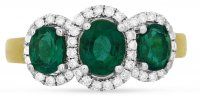 Guest and Philips - Emerald 1.26 Diamond 0.27ct Set, White Gold - - 18ct Cluster Ring, Size N