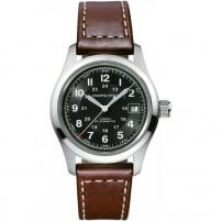 Hamilton - Khaki Field, Leather - Stainless Steel/Tungsten - Glass/Crystal Automatic Watch, Size 38mm