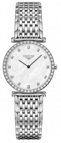 Longines - Grand Classique, Dia 0.034 MOP Set, Stainless Steel - Crystal Glass - Quartz Watch, Size 29mm