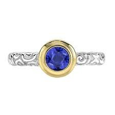 Dower and Hall - Twinkle, Blue Spinel Set, Sterling Silver - Yellow Gold - Ring, Size N