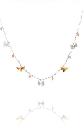 Amanda Coleman - Coral Set, Sterling Silver - Yellow Gold Plated - 22ct Gold Bees Necklace