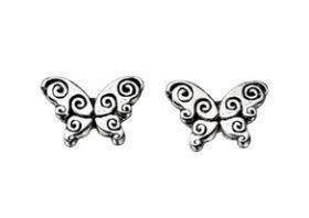 Gecko - Beginnings, Silver Oxidised Butterfly Stud Earring