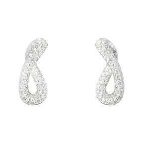 Georg Jensen - Infinity, 0.49ct. Diamond Set, Silver Earrings