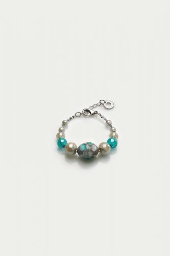 Antica Murrina - Smeralda, Murano Glass Set, Stainless Steel Blue and Silver Bracelet