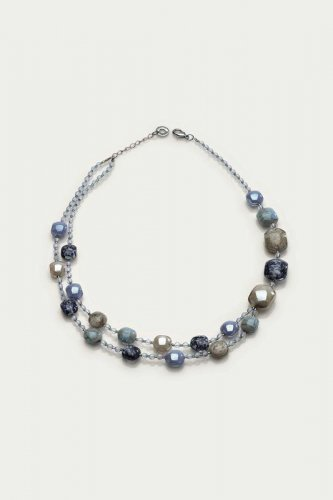 Antica Murrina - Domino, Murano Glass Set, Stainless Steel Blue Bead Necklace