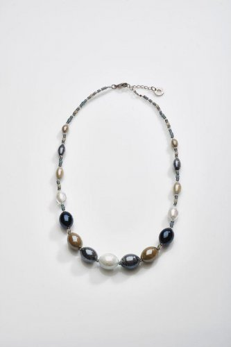 Antica Murrina - Rezzonico, Murano Glass Set, Stainless Steel Black, Silver and Grey Bead Necklace