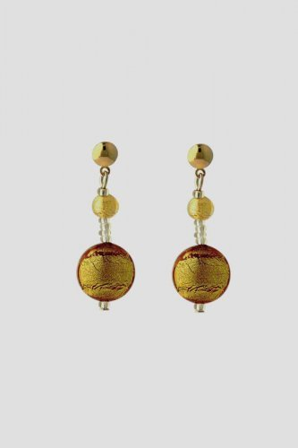 Antica Murrina - Frida, Murano Glass Set, Stainless Steel and Gold Plate Gold Bead Drop Earrings