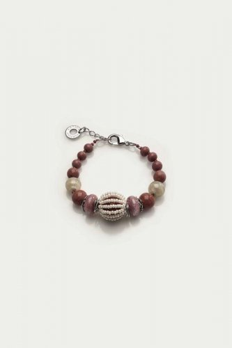 Antica Murrina - Corallina, Murano Glass Set, Stainless Steel Red and Orange Bead Bracelet