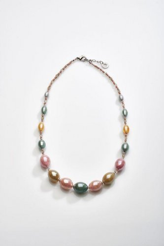 Antica Murrina - Rezzonico, Murano Glass Set, Stainless Steel Green, Pink and Blue Bead Necklace