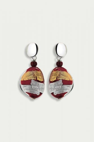 Antica Murrina - Moretta, Murano Glass Set, Stainless Steel Red/Gold/Silver Bead Drop Earrings