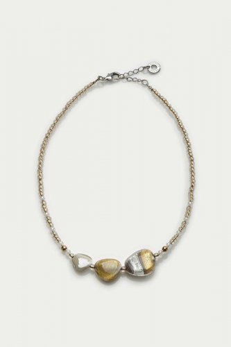 Antica Murrina - Moretta, Murano Glass Set, Stainless Steel Gold Bead Necklace