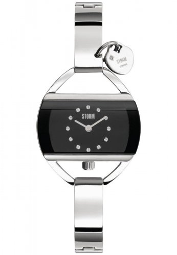 Storm - Ladies' Temptress Charm Black, Stainless Steel Black Dial Watch