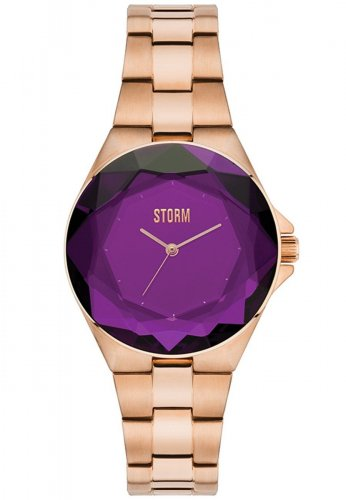 Storm - Ladies Crystana RG-Purple, Rose Gold Plated Purple Dial Watch