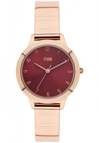 Storm - Arya , Stainless Steel with Rose Gold Plating, Red Dial Watch