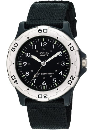 Lorus - Kids, Black Military Style Canvas Strap Watch