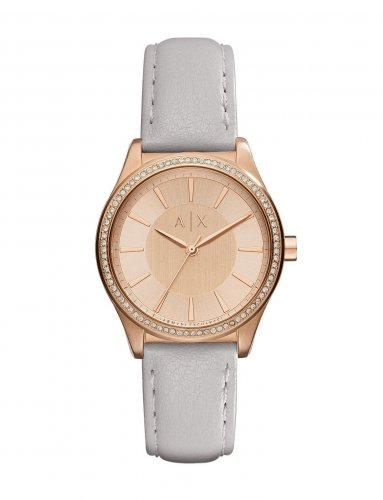 Armani Exchange - Stainless Steel and Rose Gold PVD Plate Leather Strap Watch