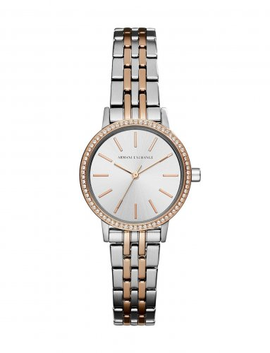 Armani Exchange - Swarovski Crystal Set, Rose Gold Plated and Silver Tone Watch
