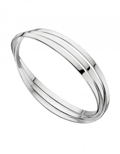 Gecko - Beginnings, Silver Triple Flat Band, Russian Wedding Bangle