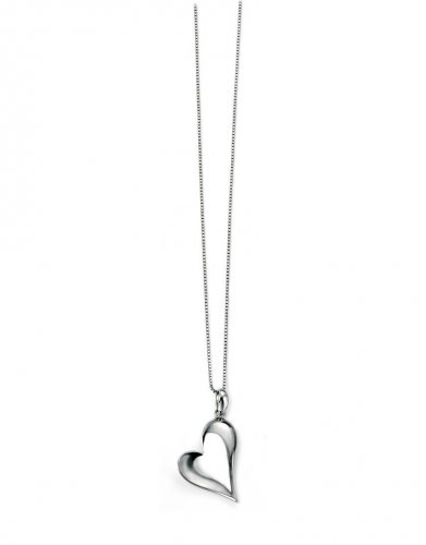 Gecko - Elements, Silver Polished Heart Pendant