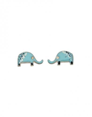 Gecko - Beginnings, Silver Blue Elephant Earrings
