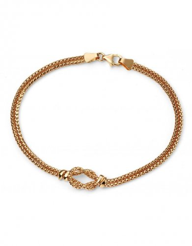 Gecko - Elements, 9ct Yellow Gold Double Knot Bracelet, Size 19cm