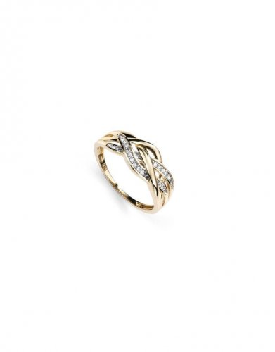 Gecko - Elements, 9ct Yellow Gold 3 Strand Plaited and Diamond Set Ring, Size N