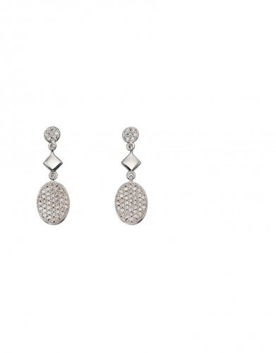 Gecko - Elements, Silver Oval Pave, Cubic Zirconia Set Earrings