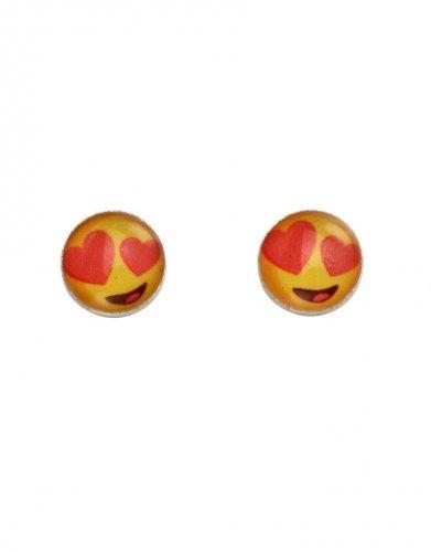 Gecko - Beginnings, Love Eyes Emoji Silver Stud Earrings
