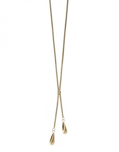 Gecko - Elements, 9ct Yellow Gold Double Teardrop Necklace, Size 20