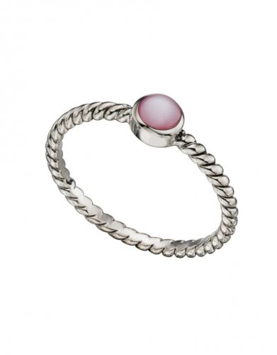 Gecko - Beginnings, Pink Mother Of Pearl Set, Silver Ring, Size 58