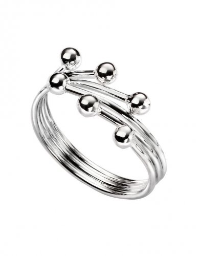 Gecko - Beginnings, Silver Wrap Ball Ring, Size P