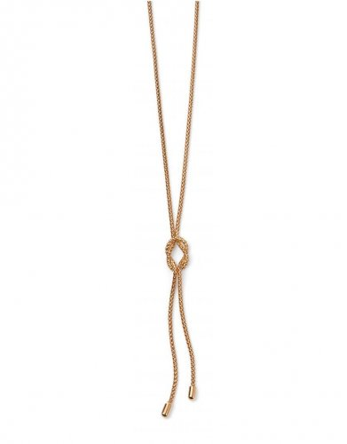 Gecko - Elements, 9ct Yellow Gold Rope Knot Lariat Necklace, Size 18