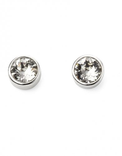 Gecko - Beginnings, April Birthstone Clear Swarovski Crystal, Silver Stud Earrings