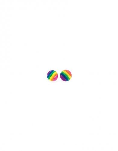 Gecko - Beginnings, Rainbow Large Stripe Ball Stud Earrings
