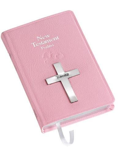 Carrs Silver - Pink New Testament Bible with Sterling Silver Cross