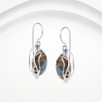 Banyan - Labradorite Set, Silver Earrings