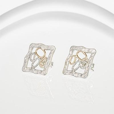 Banyan - Fine Silver and Gold Wire Bubble stud Earrings