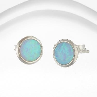 Banyan - Blue Opalite Set, Silver Round Stud Earrings