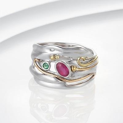 Banyan - Ruby and Emerald Set, Silver Organic Ring, Size M