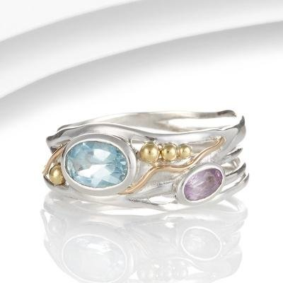 Banyan - Blue Topaz and Amethyst Set, Silver with Gold Plate Ring, Size M