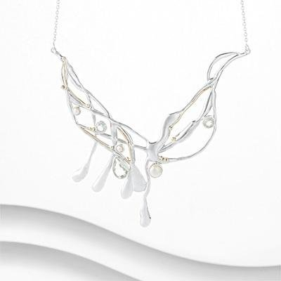 Banyan - Green Amethyst and Pearl Set, Silver and Gold Large Necklace
