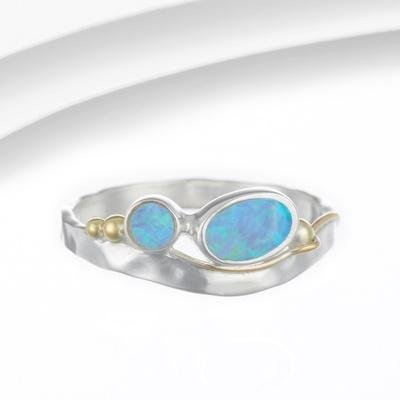 Banyan - Opalite Set, Silver and Gold Ring, Size K
