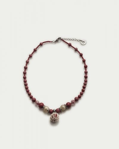 Antica Murrina - Corallina, Murano Glass Set, Stainless Steel Red and Orange Bead Necklace