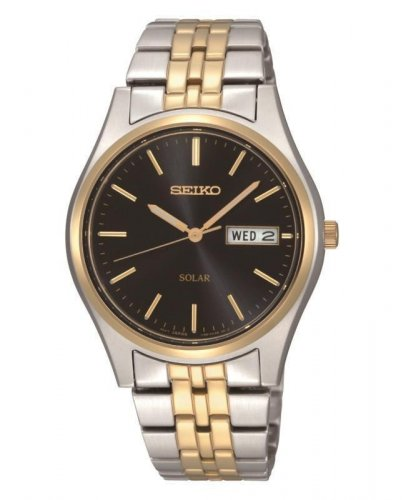 Seiko - Ladies Solar, Two Tone, Black Dial Day / Date Watch