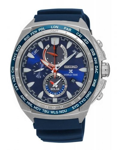 Seiko - Gents, X Prospex, World Time, Stainless Steel with Resin Strap Chronograph Watch